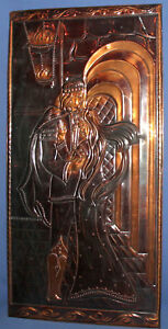 Vintage wall hanging copper/brass plaque man and woman