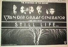 VAN DER GRAAF GENERATOR Still Life 1976  UK Press ADVERT 12x8 inches