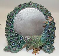 JAY STRONGWATER GREEN PEACOCK PICTURE FRAME W SWAROVSKI CRYSTALS