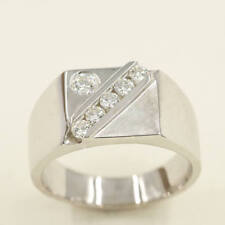 Signet 14K White Solid Gold Round Cut High Quality Diamonds Wide Square Men Ring