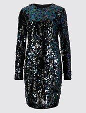 NEW BLACK SEQUIN DRESS 20 MARKS SPENCER £55 CHRISTMAS WEDDING COCKTAIL EVENING