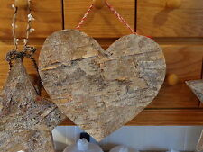 """Large 10"""" Heart Rustic Cabin Country Birch Peg Hanger"""