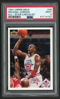 1991 UPPER DECK MICHAEL JORDAN #48 ALL-STAR CHECKLIST  LAST DANCE   *PSA 9 MINT*