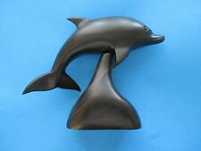 """New Handcrafted FLIPPER Dolphin Dark Brown Wood Carving 5.25"""" L. FREE Shipping"""