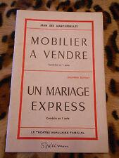 MOBILIER A VENDRE, UN MARIAGE EXPRESS - Jean des Marchenelles