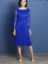 Joanna Hope stretch blue lace size 12 square neck full sleeves winter wedding