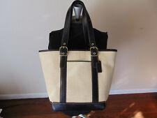 COACH 8908 Straw & Leather Double Handdle Handbag Shoulder bag