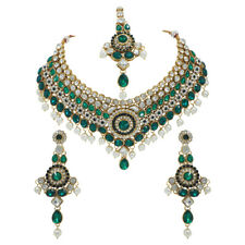 Indian Bollywood Style Diamante Green Kundan Pearl Gold Tone Bridal Jewelry Set