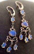 Opal Diamond Earrings 14K white Gold Dangle  Chandelier Dangle Jelly Opals