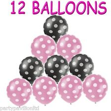 12 Pink Black White Polka Dot Spots Helium Balloons Birthday Party Decorations