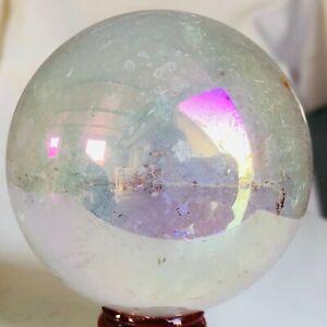 619g 76mm Titanium Crystal Sphere Angel Aura Quartz Reiki Healing S17