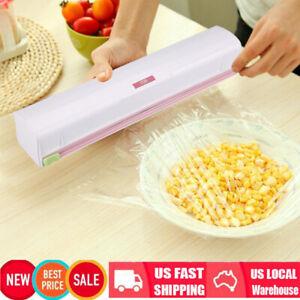 Pro Kitchen Plastic Foil Cling Film Wrap Dispenser Cutter Storage Tools US STOCK