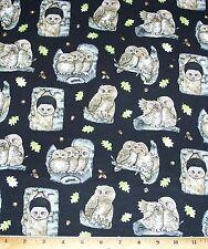 Owls Fabric By Yard Hoos Tree Elizabeth Studio on Black 100% Cotton