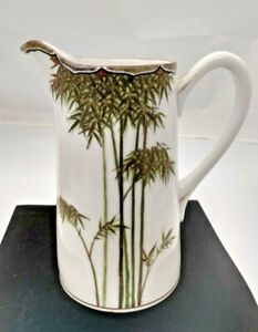 """Asian Hand Painted Ceramic Pitcher - Bamboo Trees 6.5"""" Tall - Marked"""