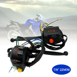 "7/8"" Motorcycle Handlebar Button Turn Signal Light Switch w/Handle Brake Lever×1"
