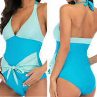 Solid Maternity Tankinis Women Splicing Bikinis Swimsuit Beachwear Pregnant Suit