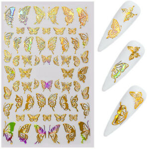 Nail Art Stickers Decorations 3D Butterfly Adhesive Sliders Colorful Decals