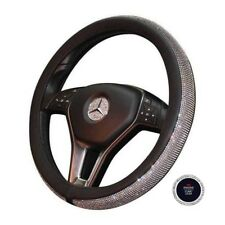 Bling PU Leather Steering Wheel Cover Crystal Rhinestone Ring Sticker