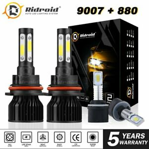 9007 LED Headlight + 880 Fog Light Bulb For Ford Mustang Gt Svt Cobra 1999-2003