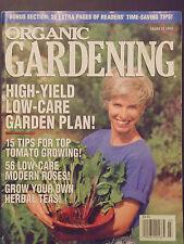 Organic Gardening March 1995 high yield low care garden plan tips for tomato tea