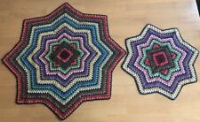 Handmade Vintage Afghan Star Doilies Placemats Table Mats Multicolored