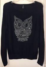 H&M Owl Sequin Beaded Angora Blend Sweater Black Size Xs