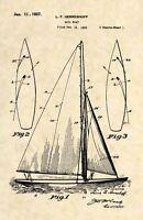 L.F Herreshoff Sailboat US Patent Art Print- Vintage 1927 Boat Sail Antique -409