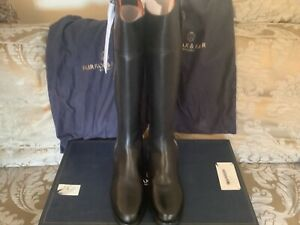 NEW WITH BOX FAIRFAX & FAVOR FLAT REGINA BOOTS DISCONTINUED BLACK LEATHER 7.5