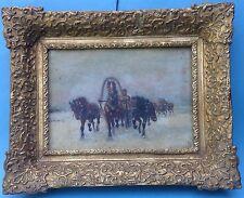 Ölgemälde Winter Pferdeschlitten Dreigespann Trojka Athans Scheloumoff Russland