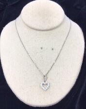 "Heart Pendant Necklace 18"" Gg488 Vintage Sterling Silver 925 Cz"