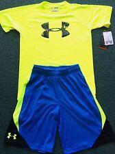 NWT Boys Under Armour L Neon Yellow/Lt Blue Big Logo Heat Gear Shorts Set YLG