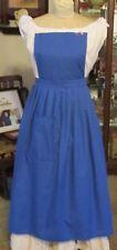 Civil War Dress Victorian Royal Blue 100% Cotton Pinner~Bib Apron-Plus Size