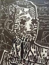 Grafik modernes Porträt Holzschnitt signiert