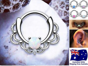 16g Surgical Steel Hinged Clicker Septum Daith Piercing Opal Nose Ear Ring 1pc