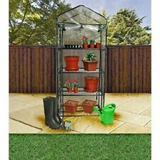 CONSTRUCTED GREENHOUSE WITH COVER REMOVABLE 4 TIER SHELVES PLANT PROTECTION NEW