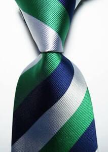 New Classic Striped Blue Green White JACQUARD WOVEN 100% Silk Men's Tie Necktie