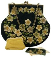 Vintage 1960s Needle Work Carpet Bag Purse Handbag Original Change Purse Mirror