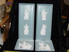 4 Vintage Metal Wall Plaques Wedgwood Blue w/ Metal Wedgwood Style Figures