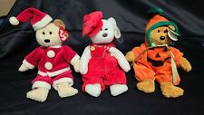 Set of 3 Vintage Beanie Babies Accessories - Santa, Pumpkin & Overall Outfits