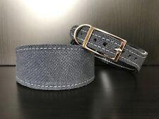 S/M Leather Dog Collar LINED Greyhound Whippet Saluki NAVY BLUE SNAKE SKIN