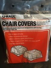 """2 Durable U-Haul Clear Plastic Chair Covers 42"""" wide x 76"""" Long"""