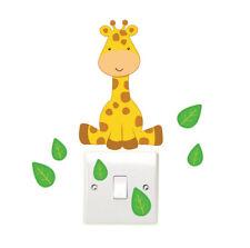 Giraffe and Leaves Light Switch Wall Sticker Children's Bedroom Safari Animal