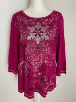 Christopher & Banks Womens Shirt Top Blouse Size XL Pink Scoop Neck Rhinestones