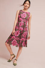 Anthropologie Lalia Lace Dress Pink Green Floral Fit & Flare By Eri + Ali Sz 12