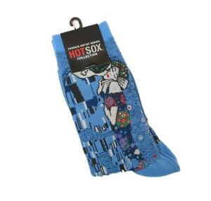 Hot Sox Ladies Cotton Blend Socks Art Series Klimt's The Kiss Blue