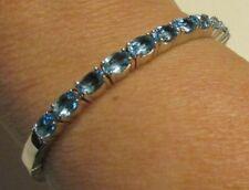 NIB NWOT ROGERS & HOLLAND Sterling Silver Blue Topaz Gemstone Bangle Bracelet