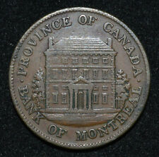 Canada Province 1844 Bank Montreal Front View ½ Penny Token B.527 PC1B1 Tall/Sho