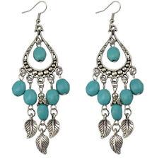 BOHO LEAF BEAD TASSEL DANGLE DROP EARRINGS Bohemian Gypsy Ethnic Jewellery Gift