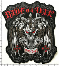 2 Pcs Big Embroidered Iron on patches Ride Or Die Skull Motorcycle AP021nG