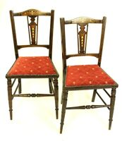 Pair of Antique Edwardian Marquetry Inlaid Mahogany Chairs [5448]